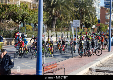 Benidorm, Costa Blanca, Spain, 27th January 2018. Stage 3 of the Costa Blanca Bike Race which leaves the coastal - Stock Image