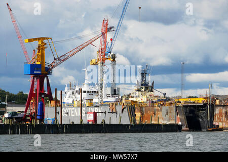 Ships being refitted in Gothenburg, Sweden - Stock Image