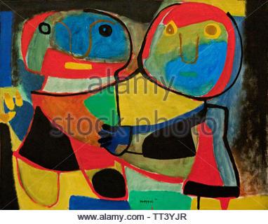 Two Owls by Karel Appel born in 1921 Dutch painter, (sculptor,  poet, Avant-garde movement Cobra), The, Netherlands. - Stock Image