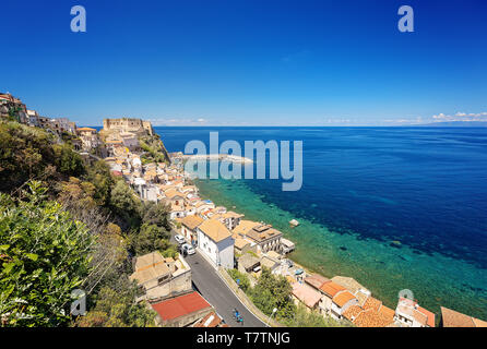 Panorama with beautiful coastline and old castle of medieval town of Scilla in Calabria, Italy. Italian summer travel holiday. - Stock Image