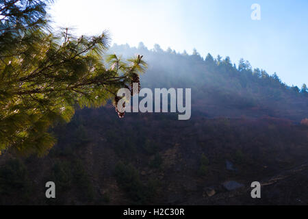 Landscapes Nepals Mountains Nature Morning Under Three Viewpoint.Mountain Trekking Landscape Background. Nobody - Stock Image
