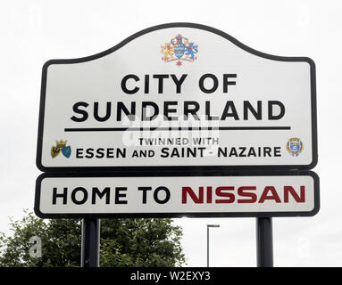 Road or town or city sign, City of Sunderland, Home to Nissan, Washington, north east England, UK - Stock Image