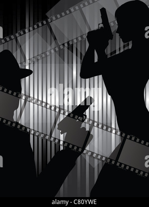 actor silhouettes with gun - Stock Image