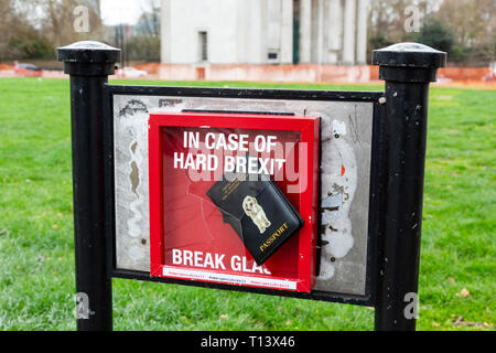 London, UK. 23 March 2019. Hard Brexit artwork. Remain supporters and protesters take part in a march to stop Brexit in Central London calling for a People's Vote. Credit: Vibrant Pictures/Alamy Live News - Stock Image