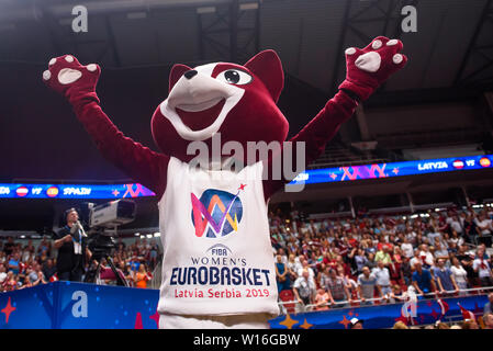 RIGA, LATVIA. 30th of June, 2019. Pick, official mascot of FIBA Eurobasket Women's 2019, European Women Basketball Championship, commonly called EuroBasket Women 2019 , game between team Latvia and team Spain in Arena Riga, Riga, Latvia. Credit: Gints Ivuskans/Alamy Live News - Stock Image
