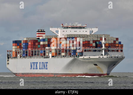NYK Hermes passing Cuxhaven bound for Hamburg - Stock Image