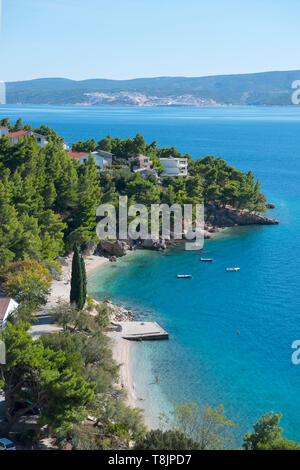 Kroatien, Dalmatien, Ortschaft Stanici südlich von Omis, Strand Veliki Luka - Stock Image