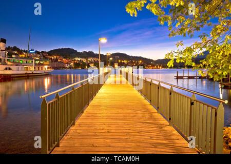 Lucerne lake pier evening view, amazing views of Switzerland - Stock Image