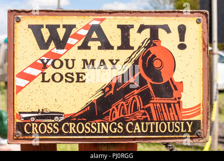 Metal plated railway safety sign. Reproduction of sign originally 1920s by the American Railway Association, ARA. - Stock Image