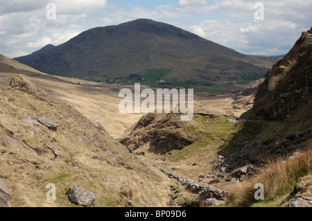 Lonesome Road #34. Big Valley and mountains, road meanders in distance - Stock Image