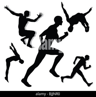 Action man silhouettes - Stock Image