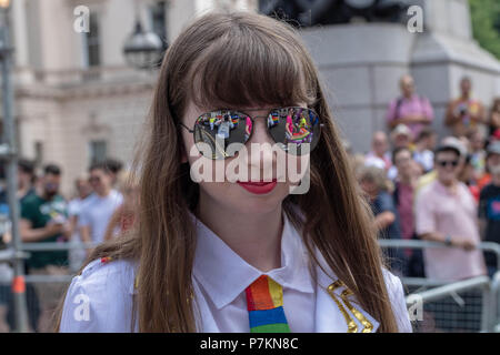 London, UK. 7th July 2018. A female participant wearing sunglasses at  Pride in London Parade 2018  Credit Ian Davidson/Alamy Live News - Stock Image