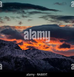 Sunset near Sortland, Lofoten islands, Norway. - Stock Image