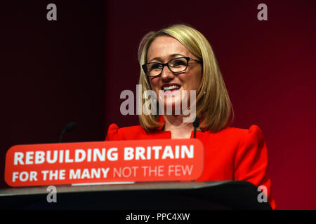 Liverpool, UK. 25th September, 2018. Rebecca Long-Bailey, Shadow Secretary of State for Business, Energy and Industrial strategy Credit: Della Batchelor/Alamy Live News - Stock Image