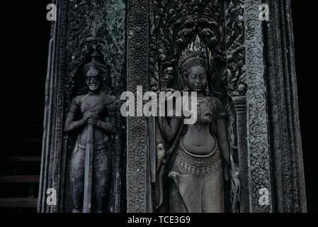 Close-up of statues, Angkor Wat, Siem Reap, Cambodia - Stock Image
