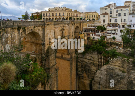 El Tajo Gorge, Puente Nuevo; Ronda, Malga, Spain - Stock Image