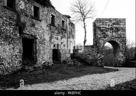 Ghost abandoned village - Stock Image