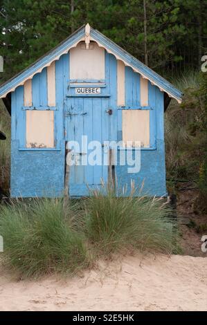 Hut at the coast of England. - Stock Image