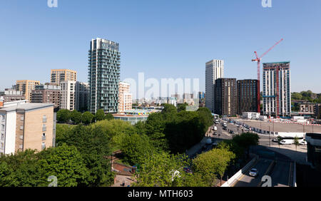 Panoramic view of the Loampit Vale development and the Lewisham Gatreway Project. on the site of the former roundabout on the A20 and A21, Lewisham - Stock Image