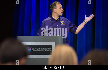 Associate administrator for NASA's Science Mission Directorate Thomas Zurbuchen speaks during a press conference - Stock Image