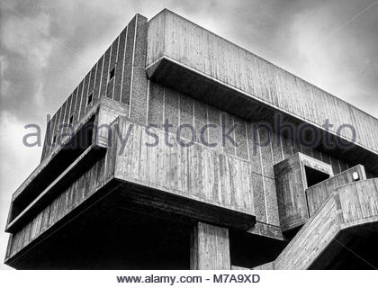 The Hayward Gallery on the South Bank, London, UK, which was opened in July 1968, and example of brutalist architecture. - Stock Image