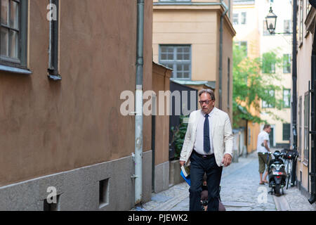 Stockholm, Sweden, September 6, 2018. Swedish Academy crisis. The Swedish Academy has its Thursday meeting after leave.   Horace Engdahl,  member of the Swedish Academy, arrives. - Stock Image