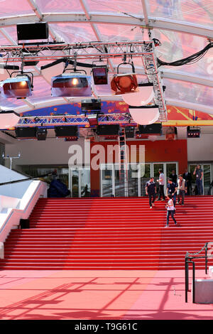 Cannes, France - May 14, 2019: Famous Red Carpet Stairway At Palais Des Festivals Et Des Congres Before Opening Ceremony Of The Cannes Film Festival 2 - Stock Image