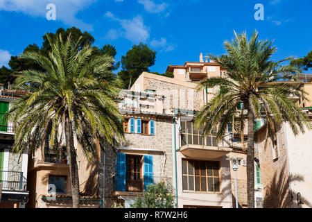 Buildings and palm trees in the village of Port de Sóller, Mallorca, Majorca, Balearic Islands, Balearics, Spain, Europe - Stock Image
