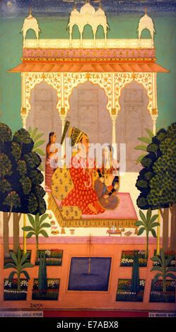 Detail from a miniature painting in the Meherengarh Fort Palace Museum in Jodhpur, Rajasthan, India - Stock Image
