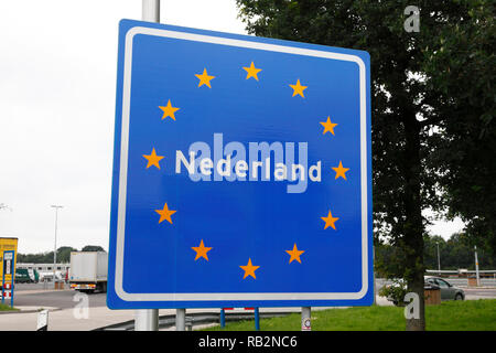 Nederland sign at the border between Germany and Nederland - Stock Image
