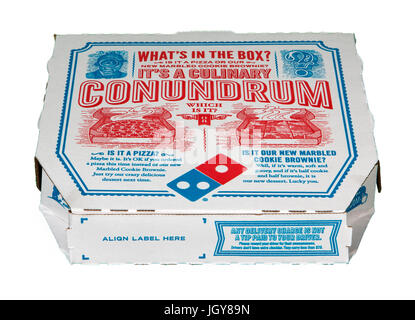 Domino's Pizza box on white background - Stock Image
