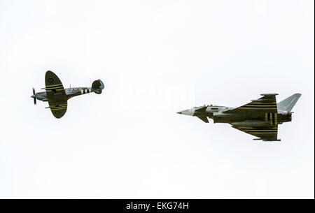 RAF Typhoon and RAF BBMF Spitfire at RIAT 2014 - Stock Image