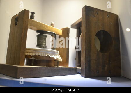 Gallows telephone 1875 by Thomas Watson, in the Connected Earth Exhibition at the Milton Keynes Museum, Wolverton, Buckinghamshire, UK - Stock Image