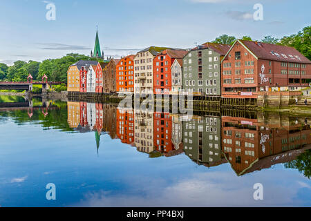 Old Drawbridge and Warehouses On The River, Trondheim Norway - Stock Image