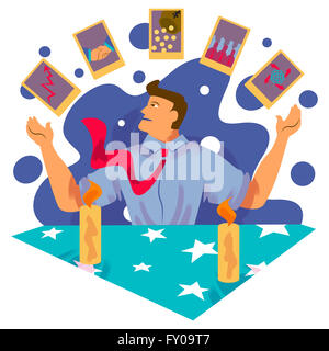 Successful businessman juggling cards of business networking, growth chart and global business - Stock Image