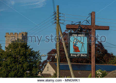 Pub sign for the Ring o'Bells, a public house in the village of Ashcott near Glastonbury, Somerset, UK - Stock Image