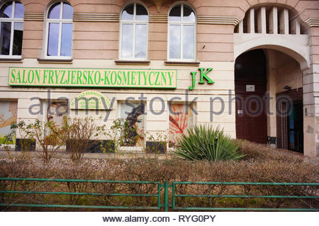Poznan, Poland - March 8, 2019: JK hairdresser and beauty salon front on the Slowackiego street in the city center. - Stock Image