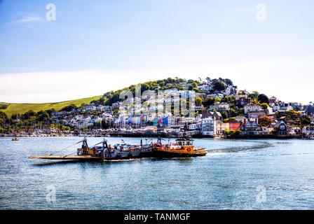 Kingswear dartmouth , dartmouth Kingswear, Dartmouth, Devon, UK, England, Kingswear, Kingswear car ferry, ferry, Dartmouth car ferry, River Dart, UK - Stock Image