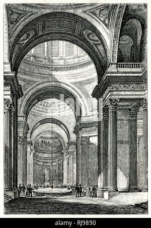 Leon Foucault uses his pendulum to demonstrate the rotation of the Earth, at the Pantheon, Paris, 1851 - Stock Image