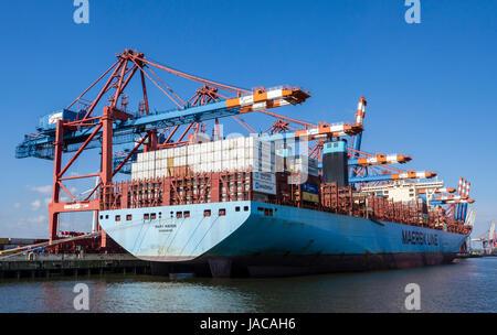 Container ship, Hamburg Harbor, Burchardkai, Hamburg, Germany - Stock Image