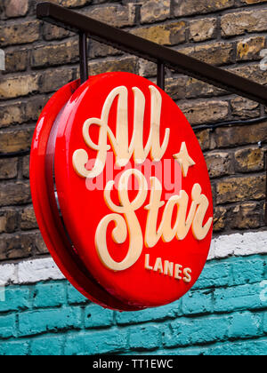 All Star Lanes - Retro American Style Bowling Alley in Brick Lane in London's East End - Stock Image