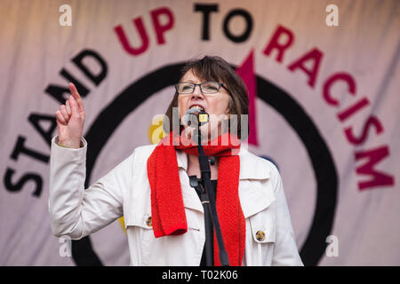 London, UK. 16th March, 2019. Frances O'Grady, General Secretary of the Trades Union Congress (TUC), addresses thousands of people on the March Against Racism demonstration on UN Anti-Racism Day against a background of increasing far-right activism around the world and a terror attack yesterday on two mosques in New Zealand by a far-right extremist which left 49 people dead and another 48 injured. Credit: Mark Kerrison/Alamy Live News - Stock Image