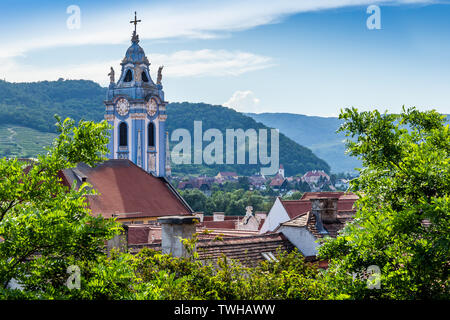 Durnstein along the Danube River in the picturesque Wachau Valley - Stock Image