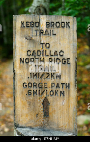 Carved wooden marker for hiking trails in Acadia National Park, Maine, USA. - Stock Image