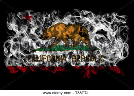 Smoking flag of California - Stock Image