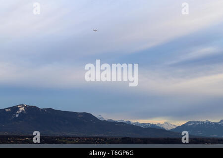 Amazing landscape from Nyon Switzerland. You can see the Alps, some clouds. The sky colorful and there is little white clouds. Relaxing & beautiful! - Stock Image