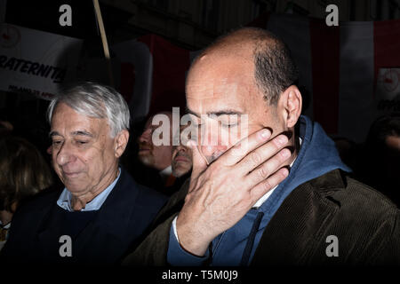 Giuliano Pisapia (L) and Nicola Zingaretti, President of Italy's Lazio region and new leader of the centre-left Democratic party PD (Right)  prior to Italy's Liberation Day celebrations in Milan, Italy  on 25th April 2019. The Festa della liberazione, also known as Anniversary of the Liberation is a national Italian holiday celebrating the end of the Nazi occupation during World War II and the victory of the Resistance. - Stock Image