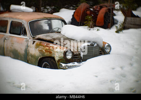 A 1960 Mercedes-Benz 190, burried in the snow, in a wooded area, in Noxon, Montana.  This image was shot with an antique Petzval lens and will show si - Stock Image