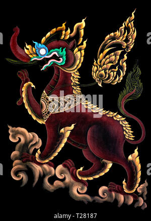 Painting - Thailand Mythical Creature Kochasri - Body Of A Lion Head Of An Elephant - Stock Image