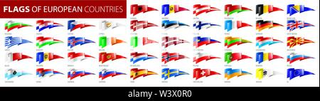 Set of flags of Europe. Vector illustration - Stock Image